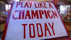 Traditions: Oklahoma's Play Like A Champion Today sign