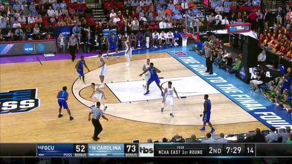 UNC vs. FGCU: B. Johnson block and lay-up