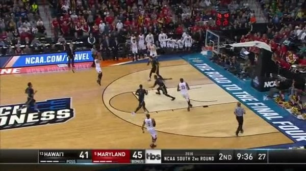 HI vs. MD: M. Trimble 3-pt