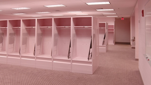 Traditions Iowas pink visitors locker room