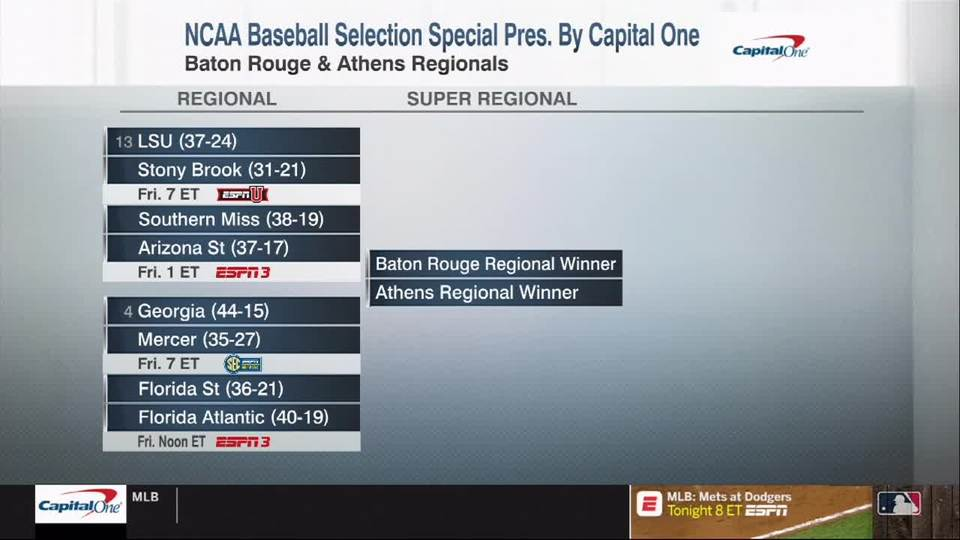 The 2019 NCAA baseball tournament field is revealed