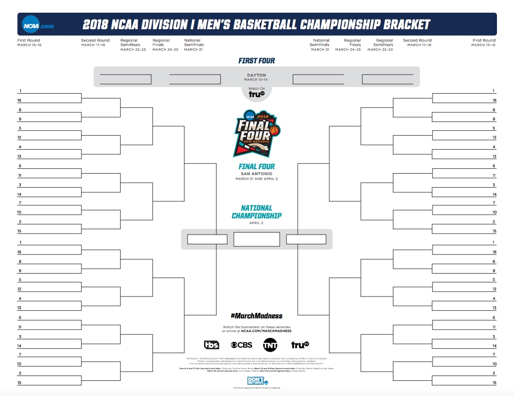 ncaa blank tournament bracket